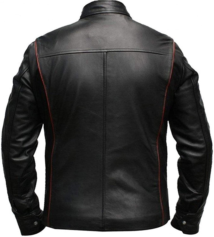 LP-FACON Mens N7 Jacket Mass 3 Commander Shepard Costume Cosplay Black Biker Faux Leather Jacket