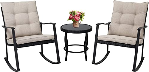 Patiomore Outdoor 3-Piece Rocking Chair Bistro Set Black Wicker Patio Furniture-Two High-Back Chair