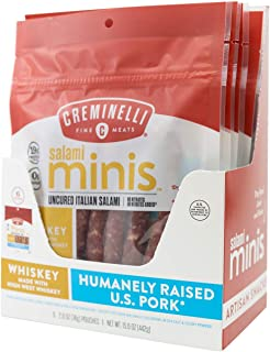 product image for Creminelli Whiskey Salami Mini Snacks, Humanely-Raised U.S. Pork, Keto & Paleo Friendly, 19g of Protein - Sugar Free, Gluten Free, No Added Nitrates or Nitrites (Whiskey, 2.6oz 6 Pack)