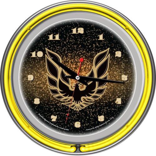 14 Neon Clock Team - Pontiac Firebird Black Chrome Double Ring Neon Clock, 14