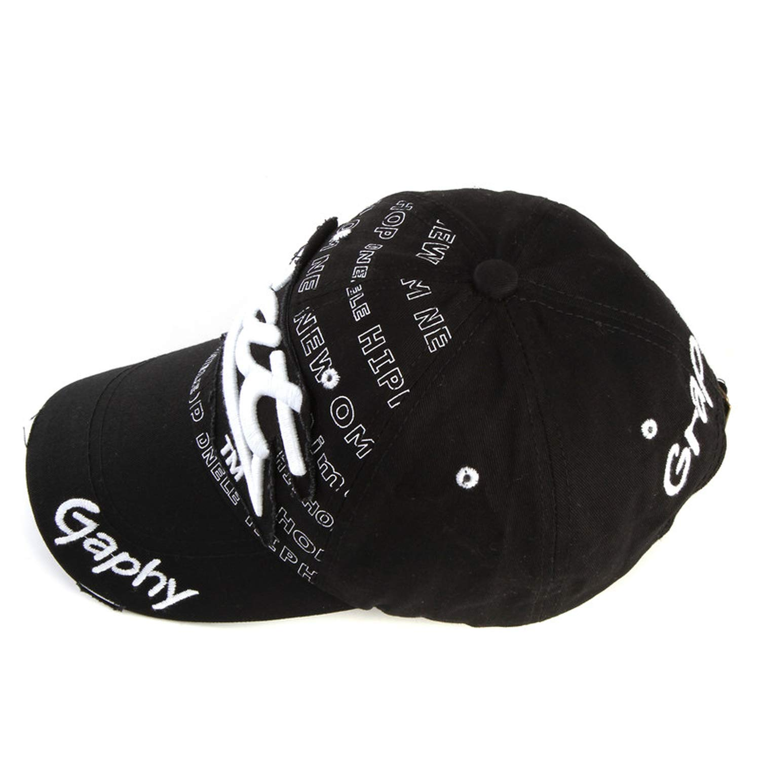 Xivikow Snapback Hats Baseball Cap Hats Hip hop Fitted Hats for Men Women Gorras Curved Brim Hats Damage Cap Black at Amazon Mens Clothing store: