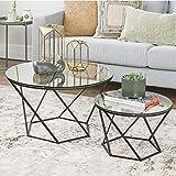 New Geometric Glass Nesting Coffee Tables in Black