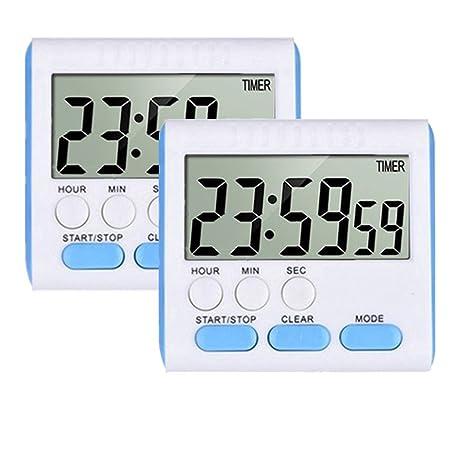 Temporizador de cocina digital con 24 horas magnético con despertador, pantalla LCD grande, soporte