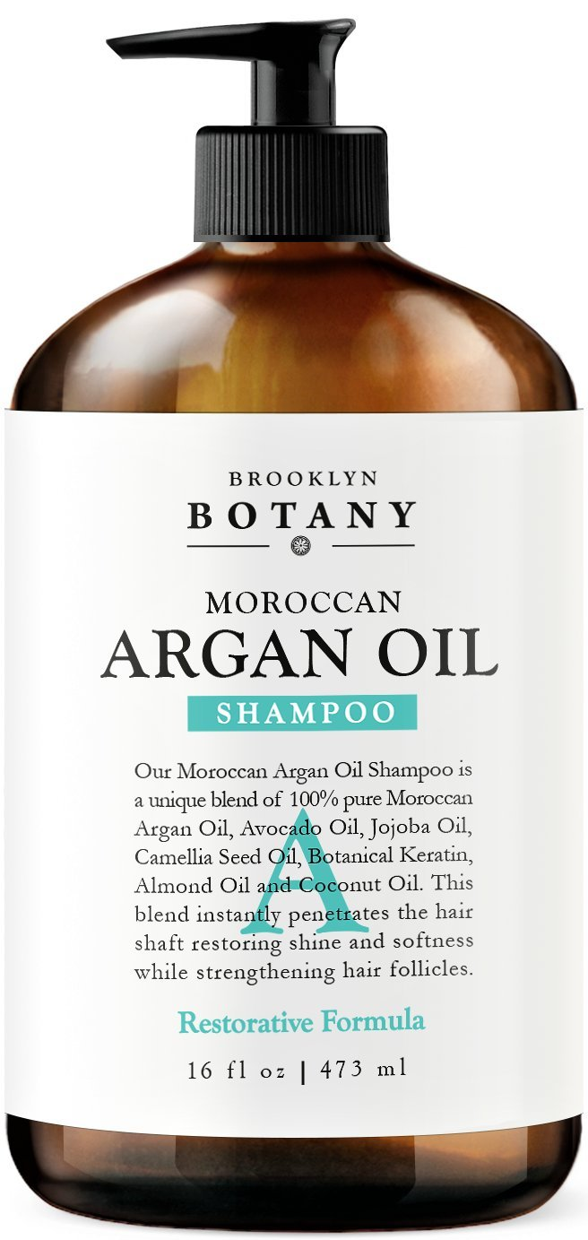 Moroccan Argan Oil Shampoo 16 fl oz - Sulfate Free - Volumizing & Moisturizing, Gentle on Curly & Color Treated Hair, Daily Use for Men & Women - Infused with Keratin - Brooklyn Botany by Brooklyn Botany