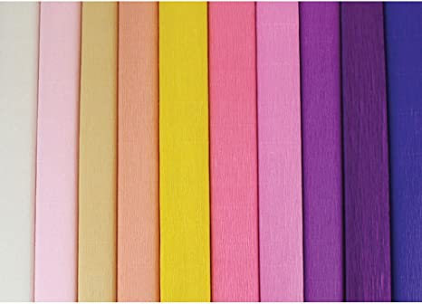 Set of 3, Color: Ivory 8ft Length//20in Width Just Artifacts Premium Crepe Paper Rolls