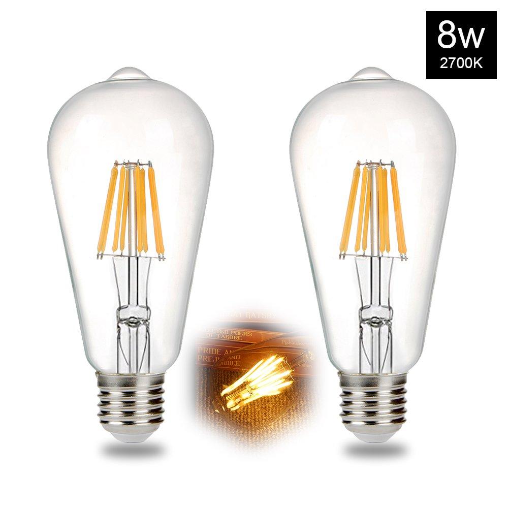 B2ocled LED Edison Bulb ST64 8W(60W Equivalent) Style Vintage Filament Light Bulbs, Warm White 2700K, E26 Base Lamp for Pendant Lighting, Wall Lamp(2 Pack)