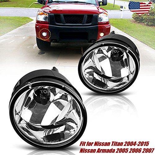 Fog Lights For Nissan Titan 2004-2015 Nissan Armada 2005 2006 2007 (OE Style Clear Lens w/889 12V 37.5W (Nissan Titan)