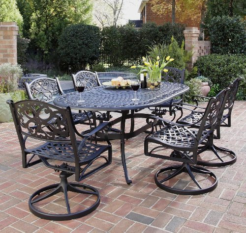 Home Styles 5554-335 Biscayne 7-Piece Outdoor Dining Set, Black Finish (Cast Iron Patio Table And Chairs)