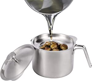 Eglaf 2L Stainless Steel Grease Strainer - Large Capacity Oil Container with Removable Filter - Dustproof Lid & Anti-Scalding Handheld - Storage Can for Reusable Cooking Frying Oil, Fat