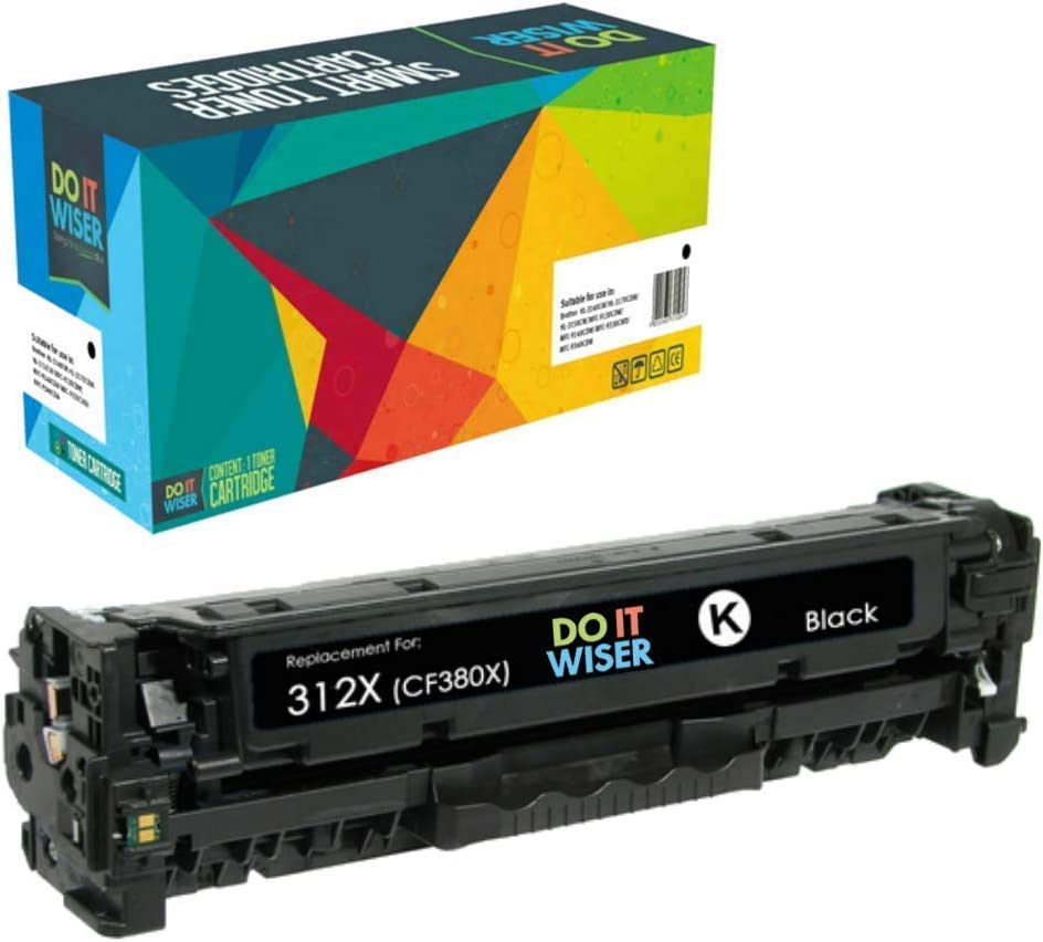 Do it Wiser Remanufactured Toner Cartridge Replacement for HP 312A 312X CF380A CF380X for use in HP Color Laserjet Pro MFP M476 M476dn M476dw M476nw (Black)