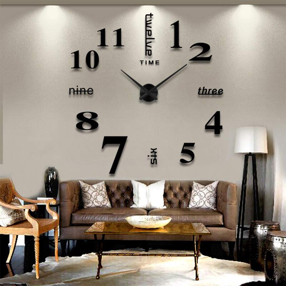 AOXLANT DIY Wall Clock, 3D Mirror Stickers Large Wall Clock Frameless Modern Design Large Watch Silent Home/Office/School Number Clock Decorations Gift (black3)