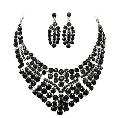 7a63ef7133 Women Bridal Austrian Crystal Necklace Teardrop Earrings Jewelry Set Gifts  fit with Party Wedding Dress (Black): Amazon.ca: Jewelry