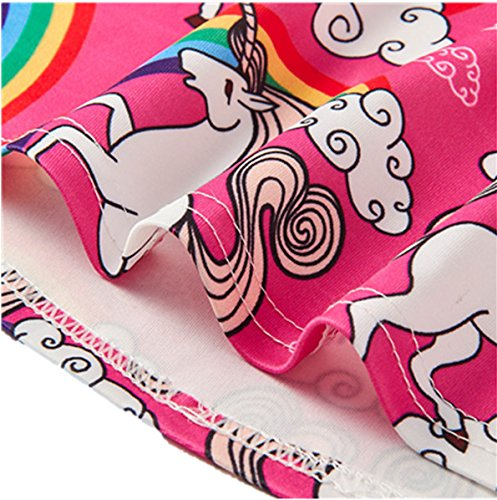 BFUSTYLE Girls\' Sleeveless Dress Teenage Girl Unicorn Print Sleeveless Casusl Dresses Skirts, Wine Red, Large
