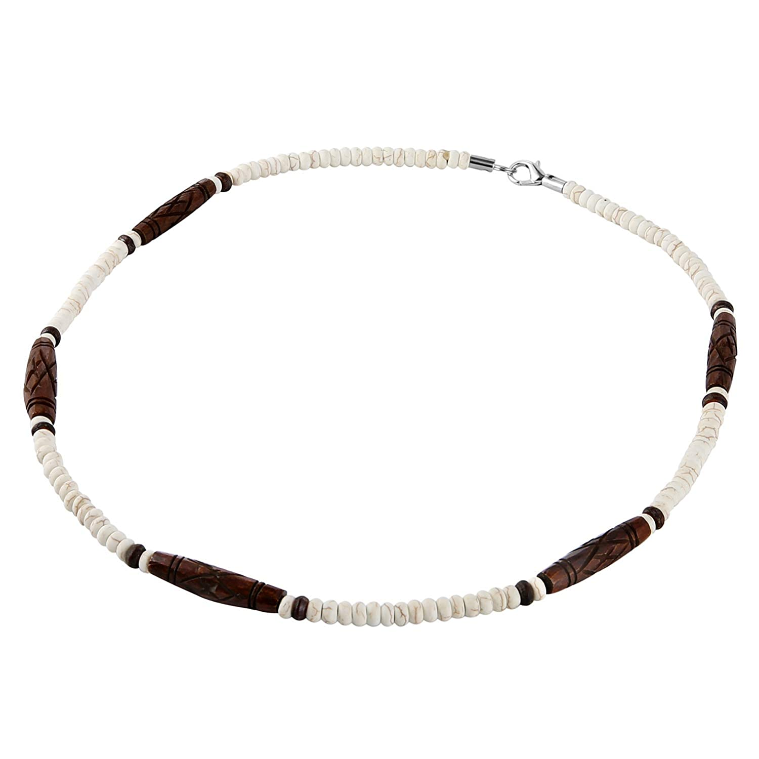 HZMAN Buffalo Bone Native American Inspired Tribal Style Collar Choker Necklace P610309