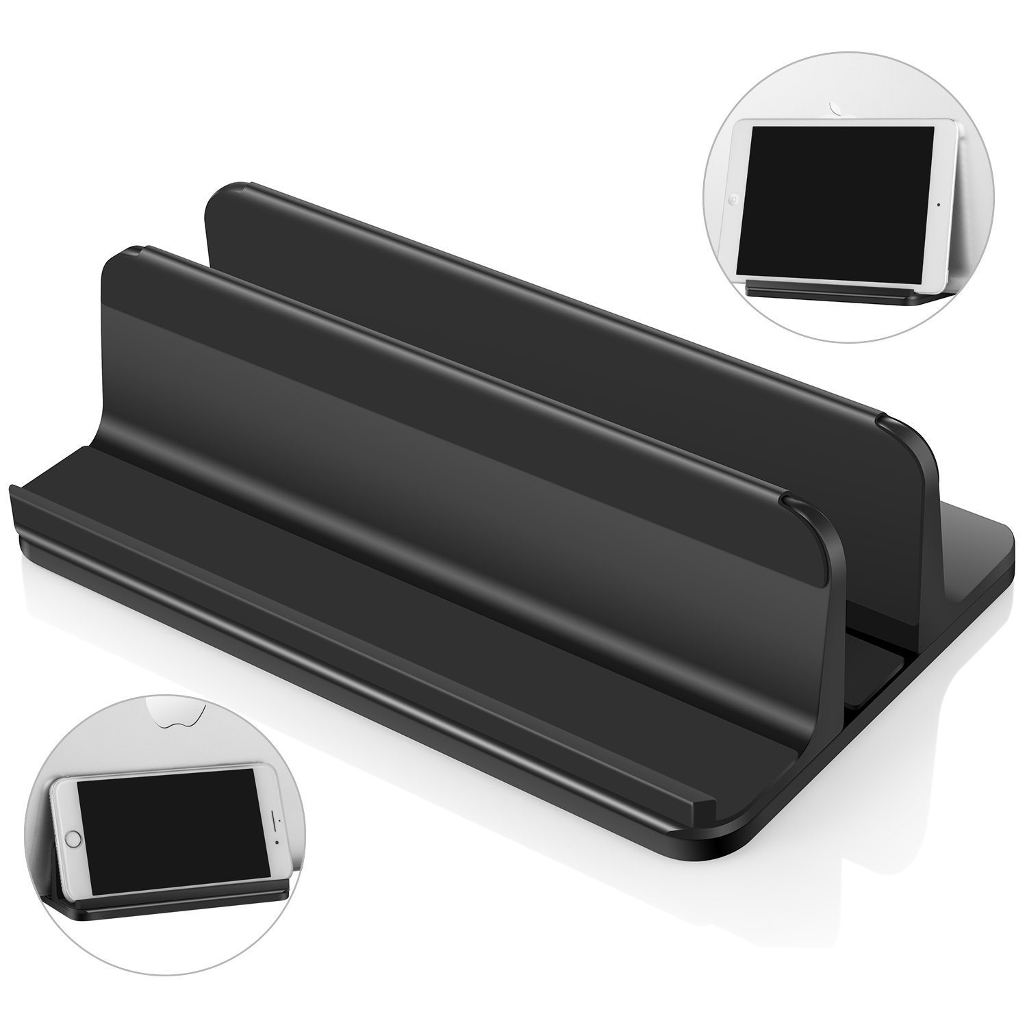 Vertical Laptop Stand for All Notebooks, Adjustable Desktop Holder Stand for Cell Phone, Tablet, HP, MacBook Air, MacBook Pro, Multifunctional, Anti-Scratch, Black