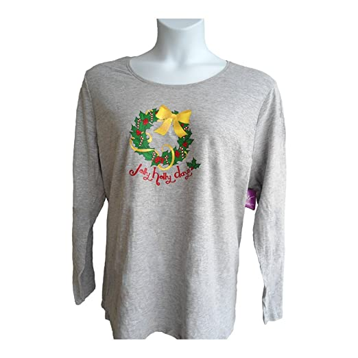 37a2b2f4 Amazon.com: Just My Size JMS Long-Sleeve Crew Neck Christmas Women's Tee:  Clothing