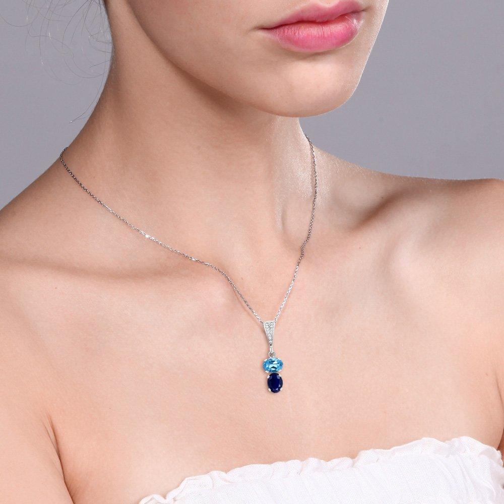 Gem Stone King 3.16 Ct Oval Swiss Blue Topaz Blue Sapphire 925 Sterling Silver Pendant