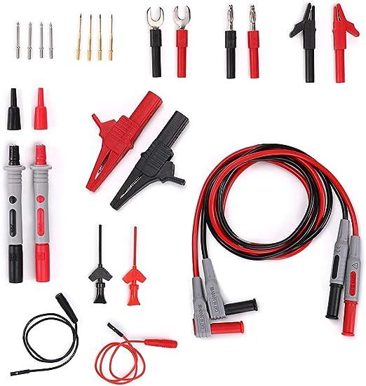 16 in 1 Test Lead Kit Multimeter Fluke Tester Clips Leads Probe Set Banana Wire