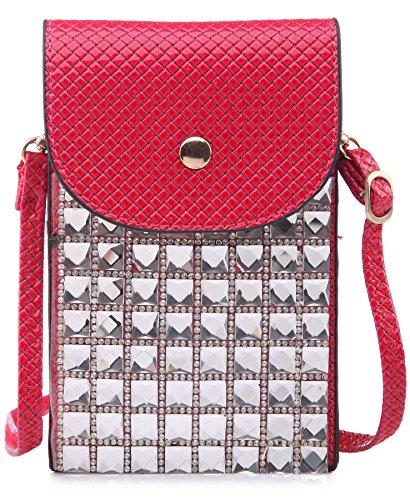 BHBS Cartera para Cruzar tipo Mensajero e Ideal para el Teléfono Móvil con Detalle de Cristales Cuadrados 11x17 cm (LxA) Rosa Oscuro