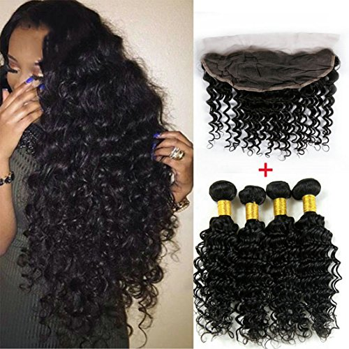 ALIMICE HAIR 4 pcs Virgin Indian Deep Curly Hair With Frontal Closure Indian Deep Wave With Frontal 13x4 Lace Frontal Closure With Bundles (18 & 20 & 22 & 24 & Closure 16)