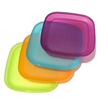 Tupperware 8 Inch Square Plates 4 Colors
