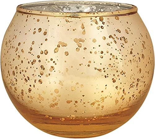 Just Artifacts Round Mercury Glass Votive Candle Holder 3.5-Inch Speckled Gold Set of 100