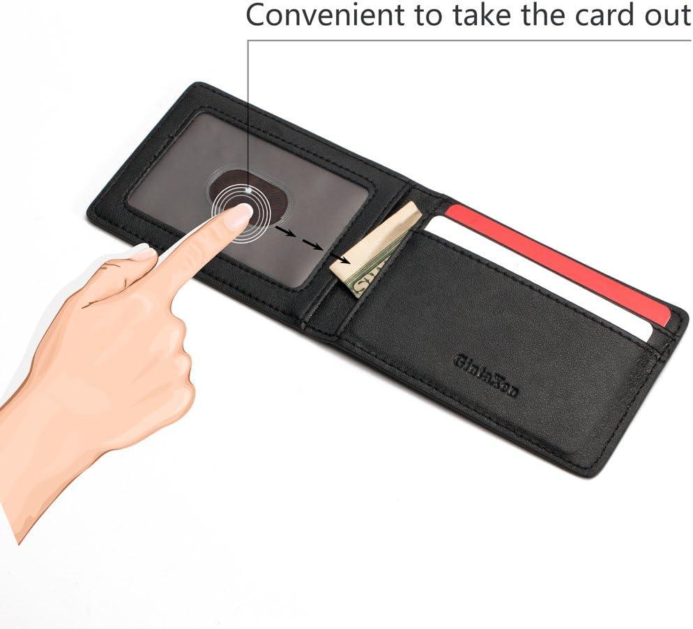 GintaXen Ultra Mince Mini Taille Pochette ID Carte de fen/être Case avec IRF Noir