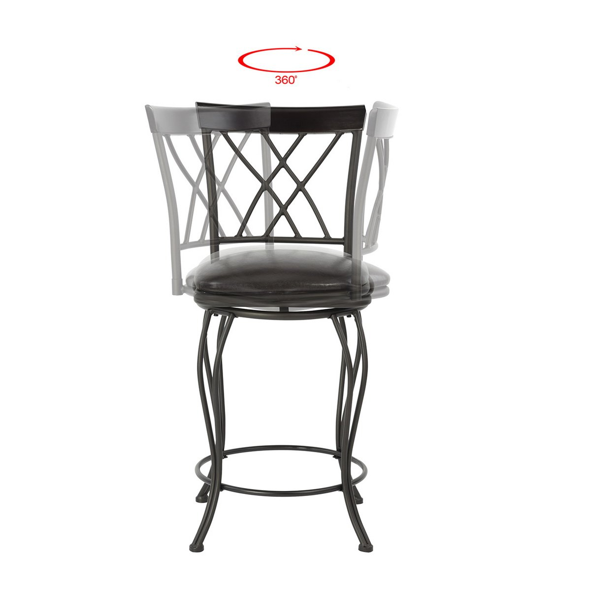 FurnitureR 24'' Circles-Back Swivel Bar stool Counter Height Bar Chair by FurnitureR (Image #4)