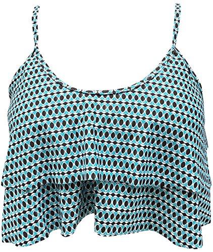 Blue Sky Swimwear Underwire - Gabrielle-Aug Women's Retro Falbala Soild Floral Flounce Bikini Top Chic Swimsuit(FBA) (12, Sky Blue)