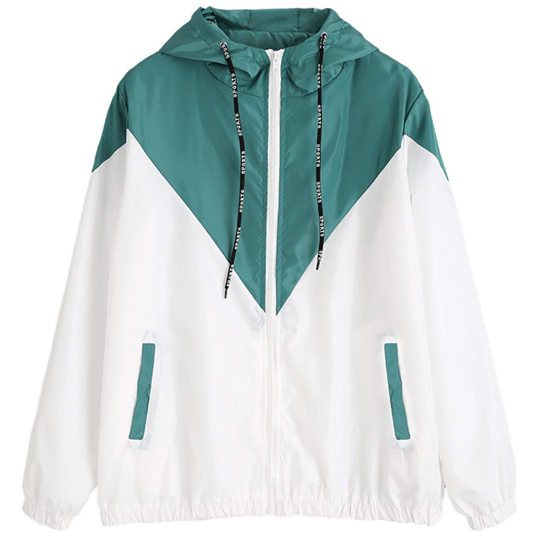 SATOSHI DUN Hooded Two Tone Windbreaker Jacket Zipper Pockets Casual Long Sleeves Feminino Coats Outwear