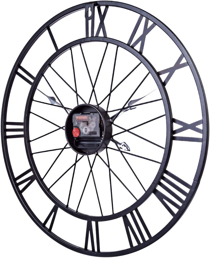 AMITAS Horloge Murale silencieuse Pendule Murale en M/étal Style Vintage Horloges Diam/ètre 40 cm