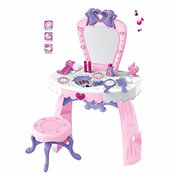 Kids Girls Glamor Mirror Pink Dressing Table Dream Makeup Dresser With  Stool Princess Style Play Set