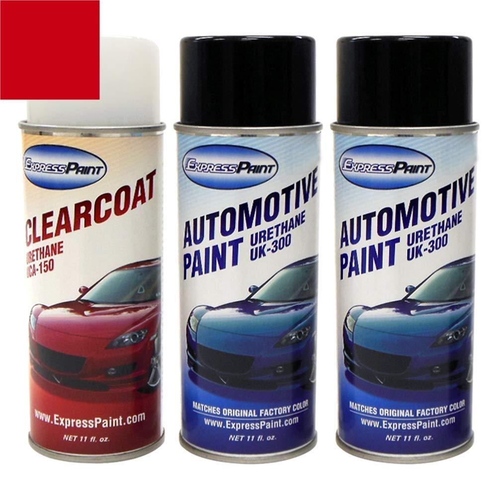 ExpressPaint Aerosol - Automotive Touch-up Paint for Ford F-Series, F150, F250, F350 - Ruby Red Metallic Tricoat RR - Color + Clearcoat Package
