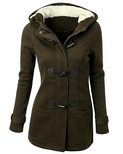 Minetom Damen Frauen Winterjacke Mantel Jacke Trenchcoat Outerwear Mit Kapuze Oversize Klassisch Hörner Taste Baumwolljacke Hoodies