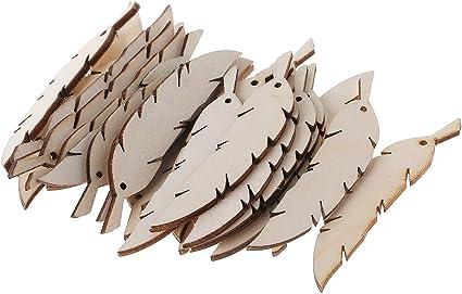 25pcs Laser Cut Wood Feather Embellishment Wooden Shape Wedding Decor