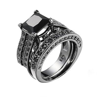 Black Diamond Wedding Band.Napoo 2 In 1 Womens Vintage Black Diamond Engagement Wedding Band Ring Set