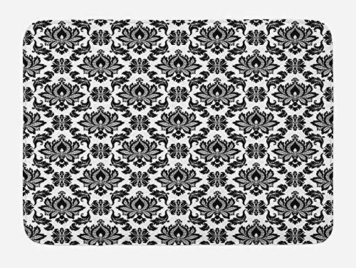 - Lunarable Damask Bath Mat, Damask Pattern Monochromic Classic European Venetian Style Flourishes Art, Plush Bathroom Decor Mat with Non Slip Backing, 29.5 W X 17.5 L Inches, Black Print