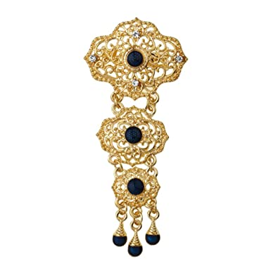 4f85653d1 YAZILIND Classic Hollow Geometry Brooches Water Drop Alloy Pendant Jewelry Women  Pin (Blue)