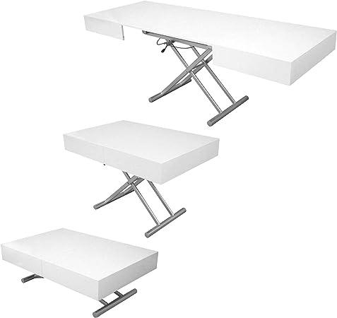 decoinparis table basse relevable extensible laquee smart xxl blanc