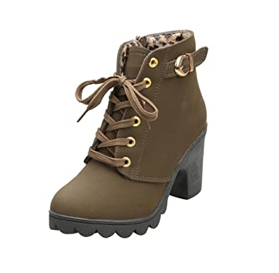 Gillberry Womens High Heel Lace Up Ankle Boots Ladies Buckle Platform Shoes