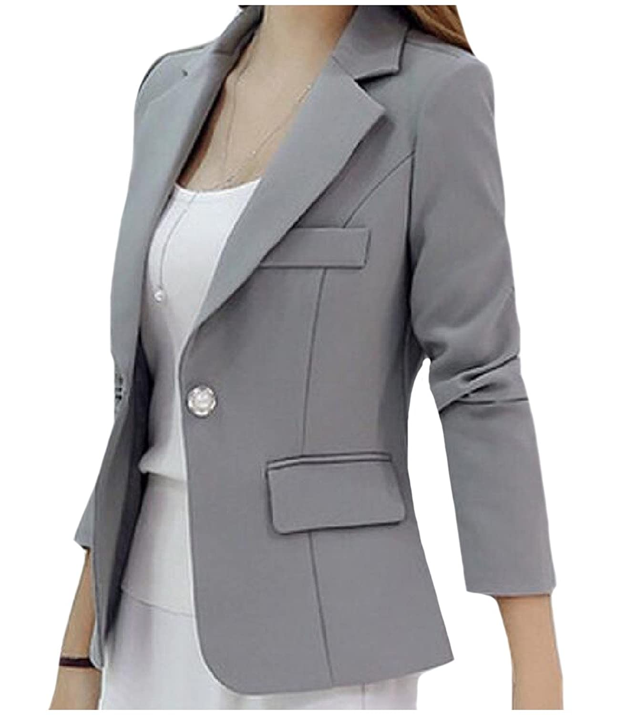 Abetteric Women Outwear Fashion One Button Pure Color Blazer Sport Coat