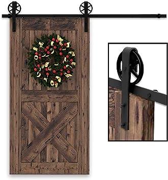 201CM/6.6FT puertas acero puerta corrediza de granero Hardware Herraje para Puerta de Granero Corredera de: Amazon.es: Bricolaje y herramientas