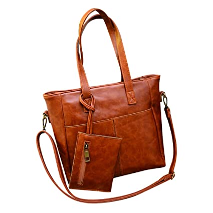59fb5e29bac0 Amazon.com: Bags For Women LJSGB Leather Messenger Bag Tote Diaper ...