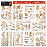 Arteza Temporary, Metallic, Henna Body Tattoos, Gold & Silver Flash Tattoo Sheets, 110 Unique Designs (10 Sheets)