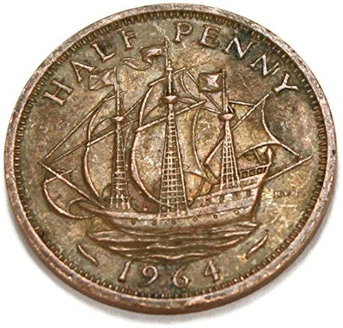 (1964 UK Elizabeth II British Bronze Halfpenny Good)