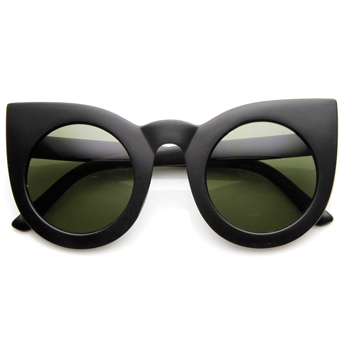 7d76b12b6066 Amazon.com  zeroUV - 70s Womens Large Oversized Retro Vintage Cat Eye  Sunglasses For Women with Round Lens 48mm (Matte Black Gree)  Clothing