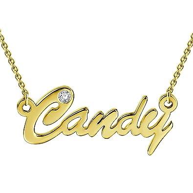 dc3d535fe6ac SOUFEEL Collar Colgante Nombre Mujer con Diamente de Swarovski Regalo para  Familia Aniversario Novia Cadena Ajustable Chapado Oro 14K  Amazon.es   Joyería