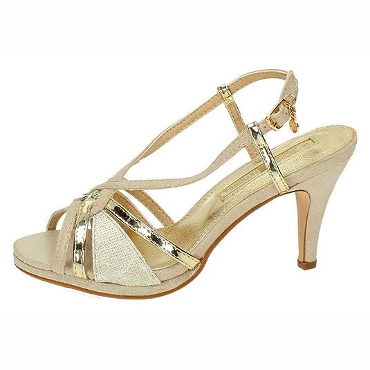 XTI Damen 30679 Knöchelriemchen Sandalen, Gold, 39 EU