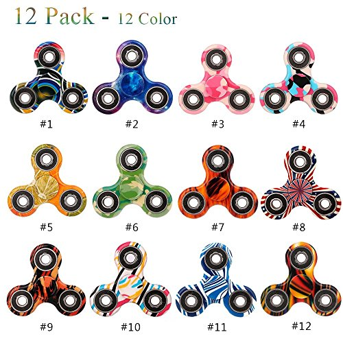 Fidget Spinner 12 Pack ADHD Stress Relief Anxiety Toys Best Autism Fidgets spinners for Adults Children Finger Toy with Bearing Focus Fidgeting Restless Colorful Hand Spin by SCIONE - Games You Can Play Alone