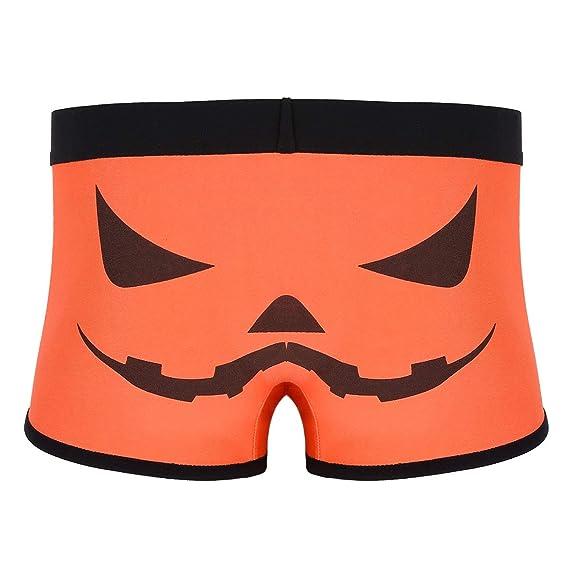 iiniim Calzoncillos Calabaza Pumpkin Boxer Hombre Ropa Interior Slip Briefs Atractivo Underwear Shorts Pants Suaves para Halloween Cosplay para Chicos ...